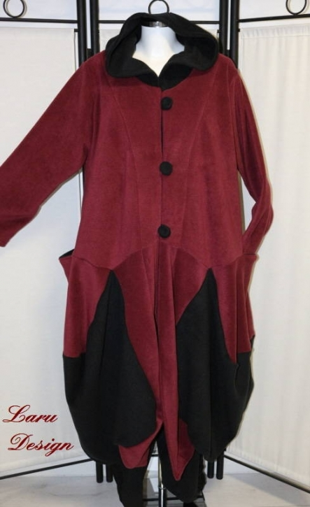 Mantel Fleece Patchwork bordeaux