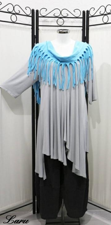 Basic Shirt, A-Line, zipfelig, Versatz, langarm