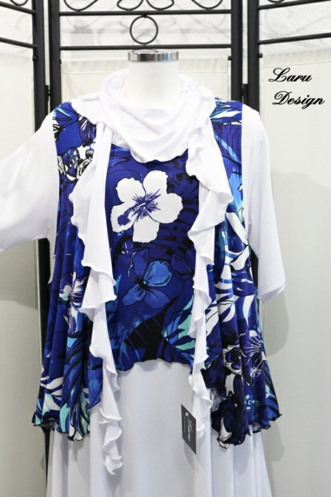 Top Ueberwurf Flower Royal Blue 0347-To4