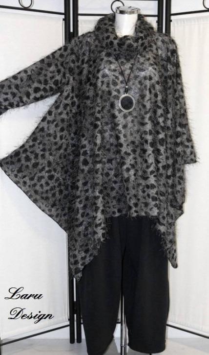 Shirt Cape mit Kragen 0399-ShC [EG   grau/schwarz]