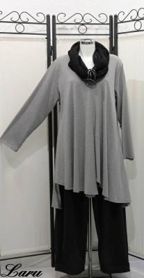 Basic Shirt, A-Line, zipfelig, Versatz, langarm [2   senf]